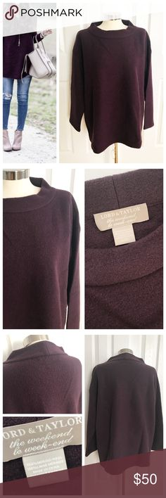 Lord & Taylor Merino Wool Sweater The Weekend Dark purple long sleeve sweater 100% merino wool. Lord and Taylor The weekend. Thick sweater! First photo on left not actual item just showing for style! Lord & Taylor Sweaters