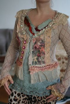 Resereved to Tonia--Wanderess, cute reworked vintage cardi with nuno felted…