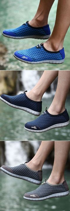 Men Lycra Mesh Breathable Soft Wearable Resistant Sport Casual Sneakers