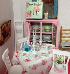 Miniature dollhouse Shabby style Table by RibbonwoodCottage, $49.00