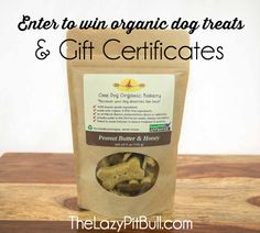 Enter to win organic dog treats and gift certificates from @onedogorganic! Two winners! | http://www.thelazypitbull.com/2015/02/one-dog-organic-bakery-giveaway/