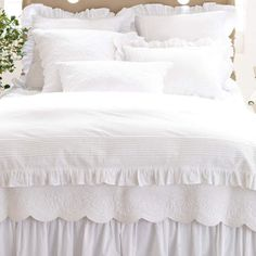 The Louisa White Duvet Cover from Pine Cone Hill offers a dressed-up vision of traditional white bedding. Your little girl will love the soft ruffles, appliqu?d stripes and embroidered details present in this collection! White Bed Skirt, Shabby Chic Romantique, Pine Cone Hill Bedding, White Duvet Covers, Single Duvet Cover, Duvet Cover Sizes, Queen Bedding Sets, Cotton Bedding, White Bedding