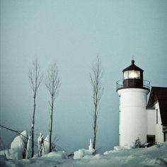 Point Betsie Blue winter scene Michigan lighthouse by joystclaire, $15.00