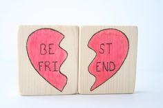 Best Friends Wood Blocks  Bestfriend Gift  Besties by TwoFiveTree