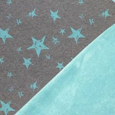 Mint stars on Grey stretch sweat with Mint Green Fleece Back. knit fabric by the half meter