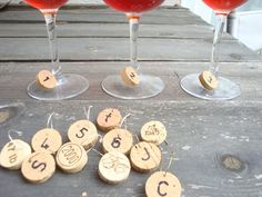 Cork Wine Glass Charms! Looks easy and cute, don't know if alcohol-related stuff is considered appropriate though.