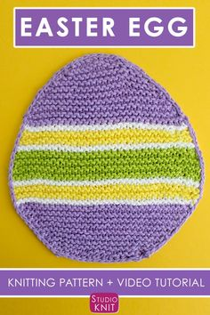 Easy Easter Egg Dishcloth Pattern by Studio Knit. This colorful Easter Egg Dishcloth Knitting Patte Dishcloth Knitting Patterns, Knit Dishcloth, Knitting Stitches, Free Knitting, Crochet Patterns, Knitting Needles, Weave In Ends Knitting, Quick Knits, Easter Colors