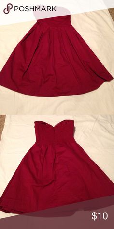 Red Rue 21 Dress- Medium Red Pleated Strapless Dress. Rue 21. Rue 21 Dresses Strapless