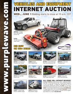 Vehicles and Equipment Auction June 1, 2016 http://purplewave.com/a/160601