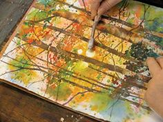 Photos with instructions on how to complete this painting (light shining through forest of trees) on artist network.
