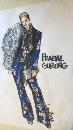 Illustration of a Prabal Gurung look by Laura Volpintesta Fashion Illustrator