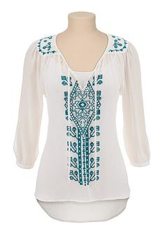 Embroidered high-low peasant top (original price, $29) available at #Maurices