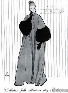 René Gruau 1953 Pierre Balmain , Velvet Hat, Evening coat, Perrot