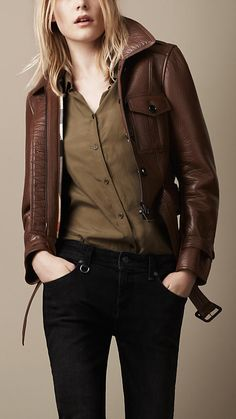 Cropped Leather Bomber | Burberry