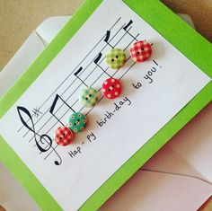 Music happy birthday buttons handmade greetings card notes birthday card Music happy birthday buttons handmade greetings card notes birthday card The post Music happy birthday buttons handmade greetings card notes birthday card appeared first on DIY. Christmas Card Crafts, Homemade Christmas Cards, Christmas Cards To Make, Homemade Cards, Homemade Greeting Cards, Christmas Time, Tarjetas Diy, Birthday Greetings, Card Birthday