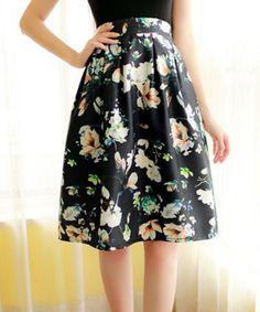 Ladylike High-Waisted Daffodils Print A-Line Women's Skirt