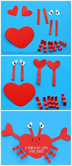 """Heart Shape Crab Valentine Craft for Kids """"A pinch of love for you!""""   CraftyMorning.com"""