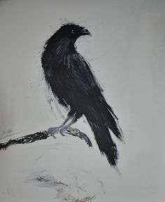 "Gerdi Jansen; Acrylic 2013 Painting ""Nevermore spoke the raven (3)"""