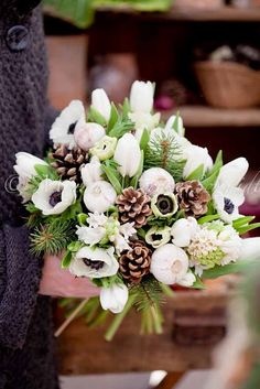 I love the white flowers and pine cones with the sprigs of evergreen in this bouquet Winter Wedding Flowers, Bridal Flowers, Floral Wedding, Winter Floral Arrangements, Flower Arrangements, Christmas Flowers, Christmas Wedding, Winter Bouquet, Deco Floral