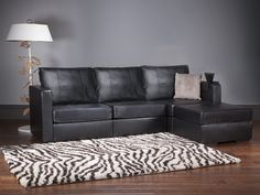 LoveSac- 5 Series Four Cushion Chaise Sectional with Black Leather Covers + FREE Throw Pillows!