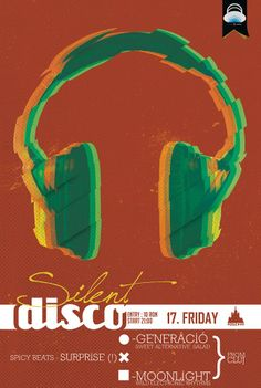 Silent Disco Party Friday, 17th January @Moszkva Cafe Cafe Cafe Cafe #Oradea. Be there or be cube! Best party in town! Poster design by Domokos Zsolt