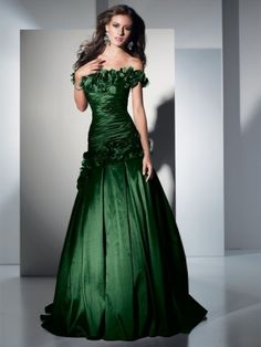 A-line Off-the-shoulder Sleeveless Floor-length Taffeta Formal Dress with Hand-Made Flower