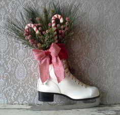 Christmas decor Decorated Ice Skate Christmas Ice skate  by 6miles, $42.00