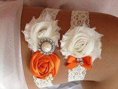 Orange Wedding Garter Set Orange and Ivory Garter by HopesBridal, $23.95