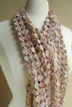 sophie digard crochet scarf in pastel / neutral colors