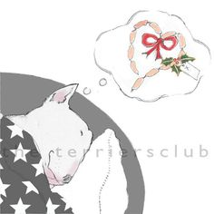 Bull Terrier Christmas Cards  Sausage Dreams by TheTerriersClub