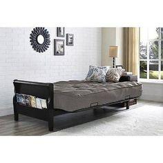 Futon Sleeper Sofa Bed Gray Linen Full Size Coil Mattress Modern Dorm room Guest