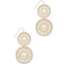 South Moon Under Filigree Disc Earrings ($29) ❤ liked on Polyvore featuring jewelry, earrings, gold, south moon under earrings, gold filigree jewelry, gold filigree earrings, yellow gold earrings and filigree earrings