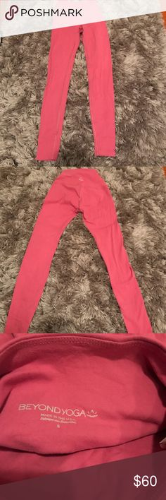 Beyond Yoga full length leggings Brushed imperial rose. Super soft worn 2x's. No imperfections just cleaning out my closet. Size SMALL. The color is hard to see in the picture so I added a pic of the website to see the color. Note the crops are NOT what I'm selling. Feel free to ask questions. No low ball offers. Beyond Yoga Pants Leggings