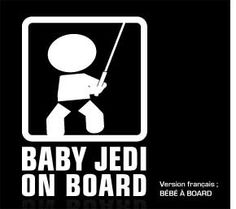 """Baby on board sticker. This baby jedi on board is a premium quality car decals. Size : 5.5"""" x 8"""" Price : 13.99 us with free shipping. From www.baby-onboard.com/baby-on-board-catalog.html"""