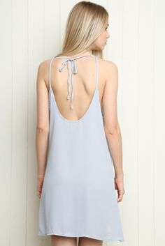 "Brandy ♥ Melville | Belle Slip Dress BELLE SLIP DRESS $26 Sheer light blue slip-on dress with a scoopneck, deep scoopback opening with a tie detailing in the back.   This dress requires an under layering. 00% rayon 35"" length, 17"" bust MODEL is 5'9"" with a 25"" waist. Made In Italy Color: Blue MCH621A-G42S0040000"