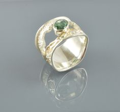 Sterling silver ring gold ring green stone ring by Bocisoartjewelry on Etsy