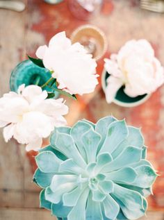 Succulent and peony details: http://www.stylemepretty.com/destination-weddings/2015/08/04/ibiza-inspiration-shoot-with-a-touch-of-boho/ | Photography: Anna Lui - http://www.analuiphotography.com/