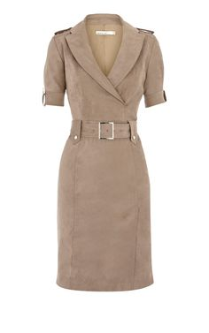 Karen Millen Soft Draped Shirt Dress Taupe For Women