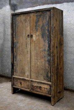 Raw wood furniture wabi sabi 50 ideas for 2019 Vintage Industrial Furniture, Primitive Furniture, Rustic Furniture, Antique Furniture, Industrial Style, Painted Furniture, Natural Furniture, Primitive Cabinets, Primitive Decor