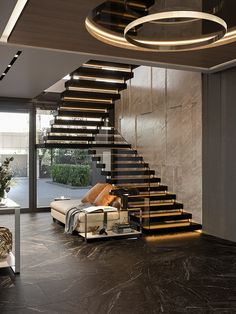 Luxury apartment in residential complex Baisanat - Dezign Ark (Beta) Staircase Interior Design, Luxury Staircase, Home Stairs Design, Modern House Design, Modern Stairs Design, Stair Design, Luxury Homes Interior, Luxury Apartments, Residential Complex