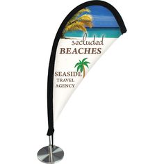 "Customized mini desktop teardrop banners are digitally printed on knitted polyester and perfect for counter-top advertising. Lightweight, easy to transport, and setup takes seconds! Hardware set includes fiberglass rod and attractive weighted screw base that keeps display steady. Finishing is single-reverse with sides hemmed. Pole sleeve is finished with black canvas . Flag Size: 6.75"" x 13.75"". Total assembly height is 17.8"". 6 piece minimum."