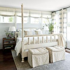 Favorite Master Suite!!! Paint: Walls- Olympus White  Ceiling- Icebox Sherwin Williams.  Spool beds became popular with American furniture makers in the mid 19th century. This bedroom's impressive example combines graceful spools, four tall posts (a Southern addition), and a pretty painted finish.