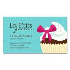 Cupcake Bakery Business Card. I love this design! It is available for customization or ready to buy as is. All you need is to add your business info to this template then place the order. It will ship within 24 hours. Just click the image to make your own!