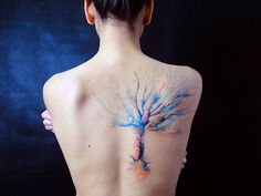 Love Watercolor Tattoo so much! Beautiful tree watercolor tattoo on back for girl - tree, art, painting, pastel has been recommended by 4749 girls. Discover more Watercolor Tattoo with & lovely Watercolor Tattoo. Pretty Tattoos, Unique Tattoos, Beautiful Tattoos, Cool Tattoos, Artistic Tattoos, Tatoos, Wild Tattoo, Tattoo On, Back Tattoo