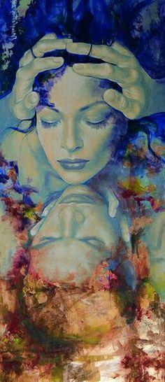 Non aver paura, sono io..  Non aver paura, sono io. Non senti che su te m'infrango con tutti i sensi? Ha messo ali il mio cuore e ora vola candido attorno al tuo viso.  Non vedi la mia anima innanzi a te adorna di silenzio? E la mia preghiera di maggio non matura al tuo sguardo come su un albero?  Se sogni, sono il tuo sogno ma se sei desto sono il tuo volere; padrone d'ogni splendore m'inarco, silenzio stellato, sulla bizzarra città del tempo.  di Rainer Maria Rilke - dipinto di Dorina…