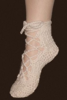 THIS IS FOR PATTERN ONLY NOT THE FINIHSED PRODUCT These soft and feminine Lace up Ballet Shoes are perfect for dancing....or just padding around the house. Look beautiful and very sexy on the leg. These would make a great gift! or make them and sell them! Work up very quickly. This