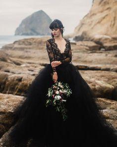 24 Black Wedding Dresses With Edgy Elegance ❤ black wedding dresses ball gown v neckline with long sleeves lace cathy telle #weddingforward #wedding #bride