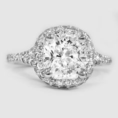 Platinum Circa Diamond Ring // Set with a 2.03 Carat, Cushion, Super Ideal Cut, I Color, VVS1 Clarity Diamond #BrilliantEarth