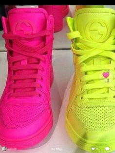 Gucci sneakers Ugh I love neon colors. I got the pink ones on my birthday can't wait till I find the yellow ones tho.