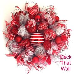 Red and Silver Christmas Deco Mesh Wreath
